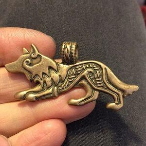 Brass ? Coyote pendant